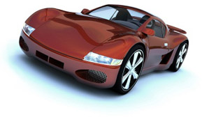 Shiny red sports car