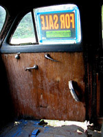 Inside of an old car with a