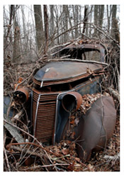 Rusted, old Studebaker model