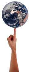 A globe balancing on a finger like a ball
