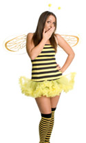 A woman dressed in a bee costume