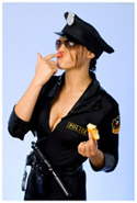 A woman cop eating a donut