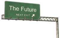 A street sign that says the future next exit