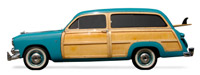 An old woody station wagon