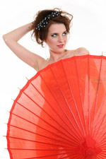 woman concealed with a parasol