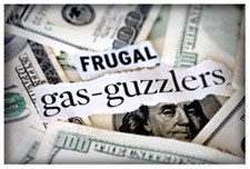 A headline that reads Frugal Gas-Guzzlers