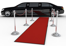 A limo with a red carpet