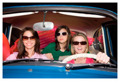 Girls in a VW Microbus