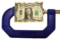 A dollar in a vise